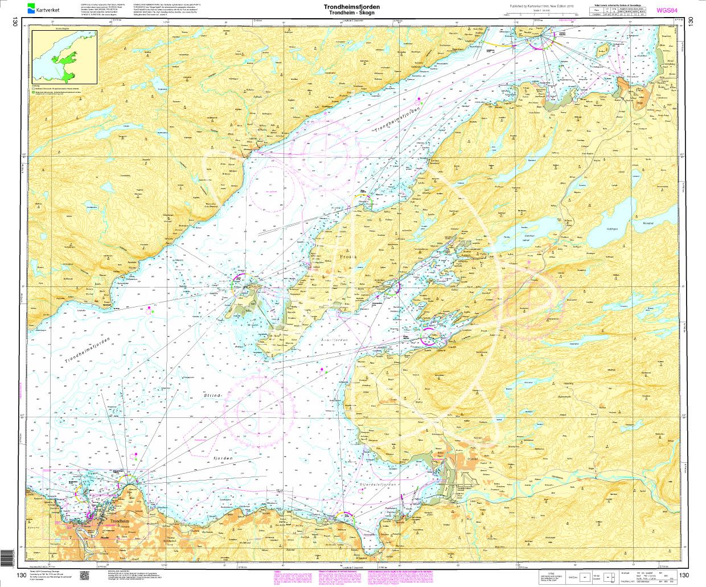 Norwegen N 130 Atlantik Trondheimsfjord mit Trondheim - Skogn