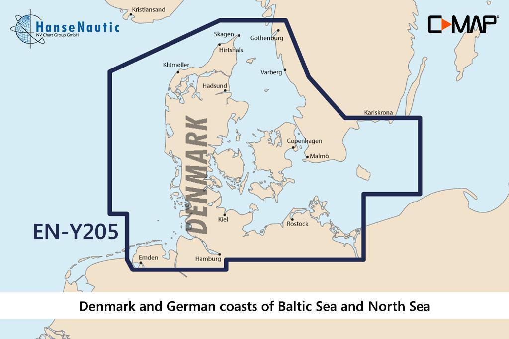 C-MAP Discover Dänemark & Deutsche Küsten von Ostsee u. Nordsee (Karlskrona-Emden) EN-Y205