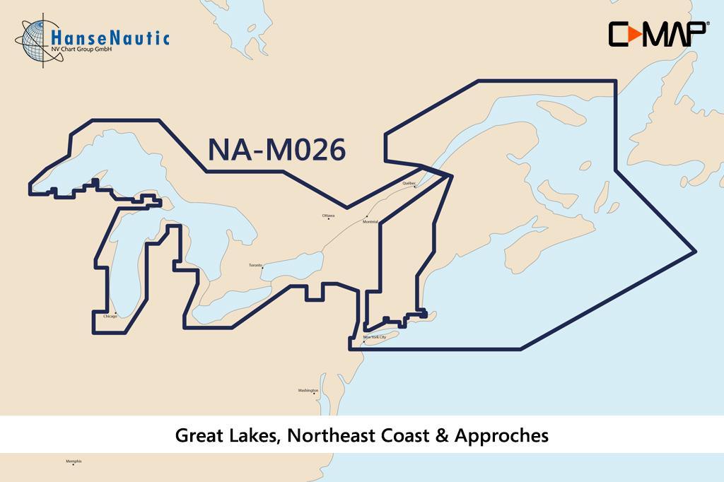 C-MAP MAX Wide NA-M026 Great Lakes, NE Coast & Appr.