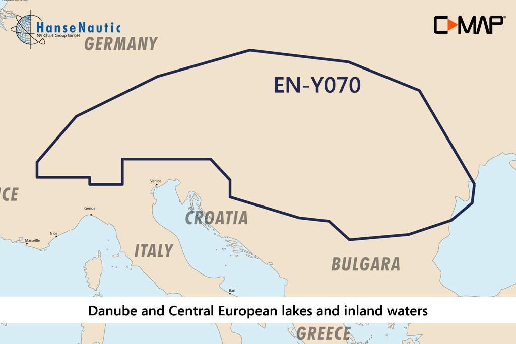 C-MAP Reveal Donau u. mitteleuropäische Gewässer EN-Y070