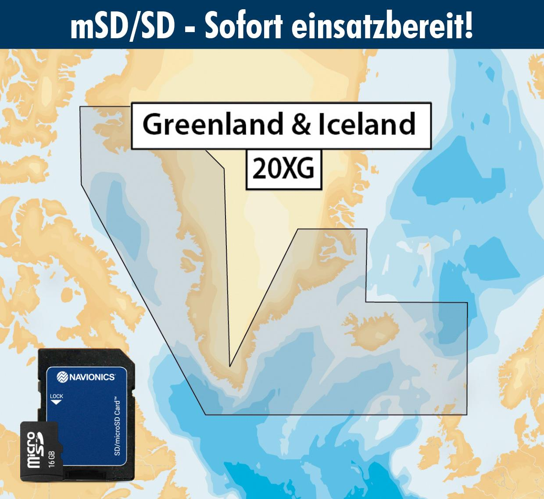 Navionics+ 20XG mSD Grönland und Island