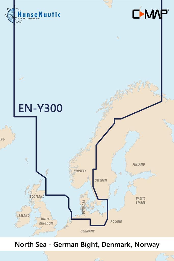 C-MAP Reveal Nordsee u. Dänemark (North Sea, Denmark) EN-Y300