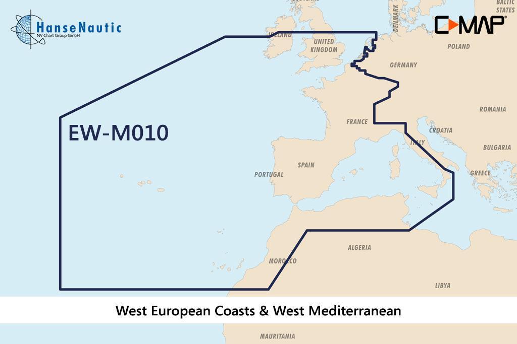 C-MAP MAX MegaWide EW-M010 West European Coasts & West Med.