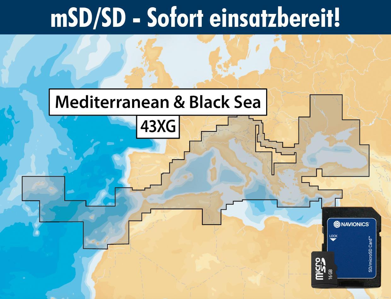 Navionics+ 43XG Mittelmeer (Mediterranean Sea) mSD