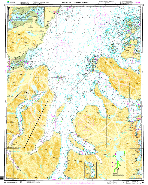 Norwegen N 79 Lofoten Hinnøya mit Risøysundet - Kvæfjorden - Harstad